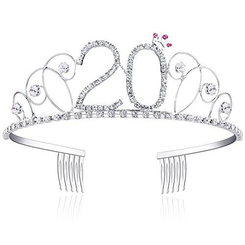 BABEYOND® Kristall Geburtstag Tiara Birthday Crown Prinzessin Kronen Haar-Zusätze Silber Diamante Glücklicher 18/20/21/30/40/50/60 Geburtstag (20 Jahre alt)