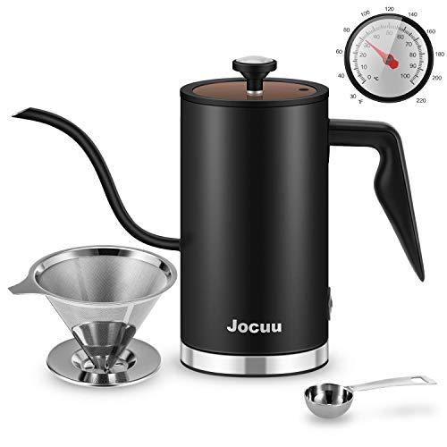 Jocuu Gooseneck Hervidor eléctrico de Agua Caliente Hervidor de Agua 500 ml Acero Inoxidable 304 con termómetro e indicador de Estado para Preparar té, Verter sobre café y Agua hirviendo