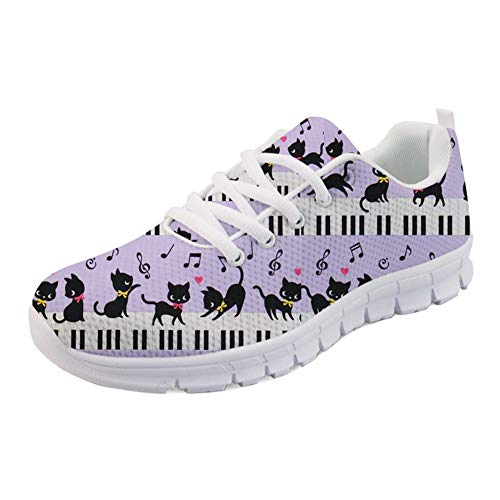HUGS IDEA Fashion Women's Sneakers Casual Lightweight Comfort Trainer Athletic Shoe Lovely Musical Kitten Pattern Walking Running Sports Shoes