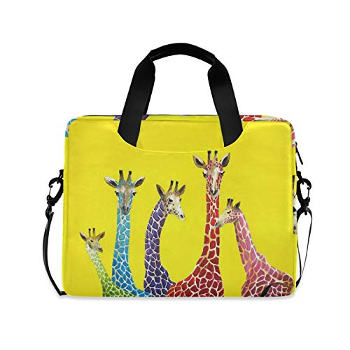 Laptop Bag Giraffe Laptop Case Computer Carrying Case 13-15.6 inch Laptop Sleeve Case Polyester Laptop Shoulder Bag Strap Handle Notebook Computer Bag for Boys Girls Women Men