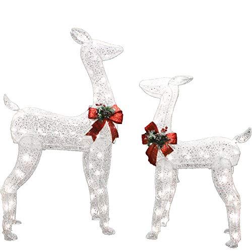 Joiedomi 2 Packs Christmas Reindeers, Doe, Fawn 130 LED Warm White Yard Lights for Christmas Outdoor Yard Garden Decorations, Christmas Event Decoration, Christmas Eve Night Decor