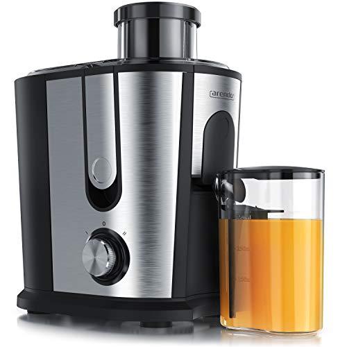 Arendo - Entsafter für Obst und Gemüse in Edelstahl - Zentrifugaler Entsafter Juicer - elektrisch - 2 Geschwindigkeitsstufen - Überhitzungsschutz - Edelstahlgehäuse - BPA-frei