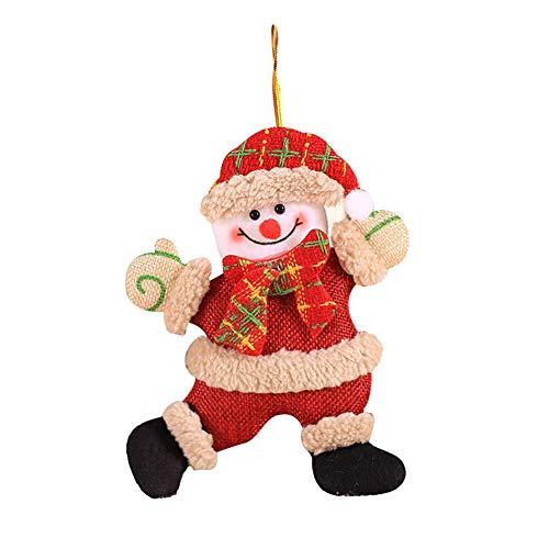 strimusimak Adorno De árbol De Navidad Colgante Adorno Colgante Decoración De Navidad para El Hogar (Papá Noel, Muñeco De Nieve, Alce) Monigote de Nieve