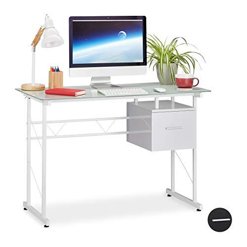 Relaxdays Schreibtisch, moderner Bürotisch mit Glasplatte, Seitenschublade, Jugendzimmer, HBT: 75 x 110 x 55 cm, weiß, MDF