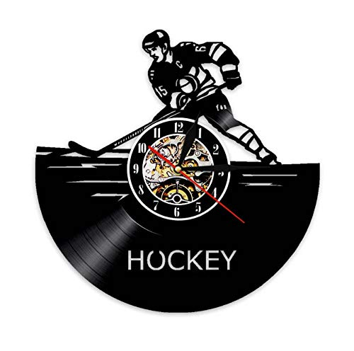 Liushenmeng Vinilo Reloj de Pared Jugador de Hockey Americano Reloj Disco de Vinilo Decor Art Vinilo Reloj decoración única Hecha a Mano decoración Idea de Regalo Creativo Vinilo diámetro 30 cm