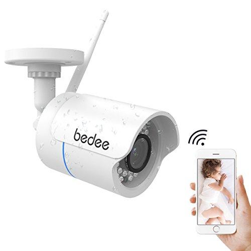 Telecamera di sorveglianza HD 1080P, telecamera IP WLAN impermeabile, WiFi, supporta visione notturna a infrarossi, scheda SD da 128 G, alimentatore di rete da 9.8 ft per interni ed esterni