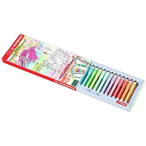 Evidenziatore - STABILO swing cool Desk-Set - 18 Colori Assortiti 8 Neon + 10 Pastel