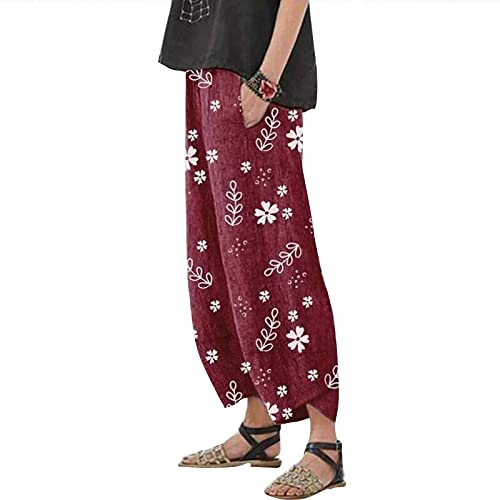 N /C Pantalones de lino para mujer, estilo informal, holgados, con pernera ancha, con bolsillos, talla grande, pantalones de pierna recta