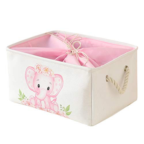INough Pink Basket Elephant Storage Bins for Kids, Gift Box for Baby,Collapsible Storage Basket for Toys Clothes,Fabric Laundry Baskets for Baby/Kids/Nursery Room (Medium, Pink Elephant)