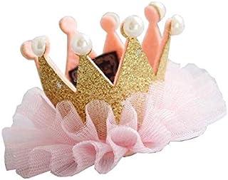パーティーパーク ベビー キッズ 王冠 ヘアー クリップ ヘアバンド ミニクラウン お誕生日 ハーフバースデー 女の子 記念日 写真 選べる デザイン (ゴールド)