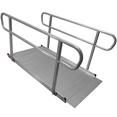 Titan Ramps 6 ft x 35 in Aluminum Wheelchair Ramp Entry & Handrails Solid Surface Scooter Mobility Access Easy Assembly