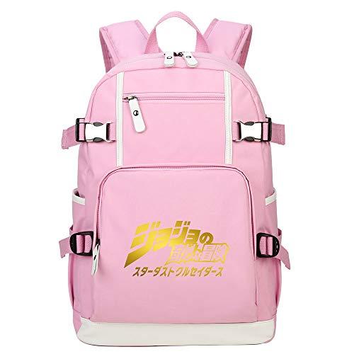 PAPLIU School Bag JoJo's Bizarre Adventure Pink Unisex Anime Backpacks School Bags Large Capacity Backpacks for Boys and Girls
