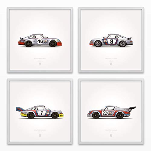 GarageProject101 1973 Classic Martini Racing Illustration Poster Print - Set of 4