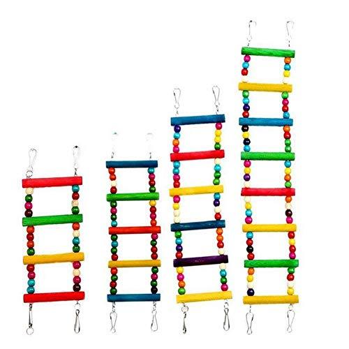 Oinna Vogelspielzeug, Papageienspielzeug Kauspielzeug Vögel Spielzeug Holz Sitzstangen Plattform, Schaukel, Sitzplatz, Holz Leitern für Sittiche, kleine und mittelgroße Vogel Papageien-8 Stufen