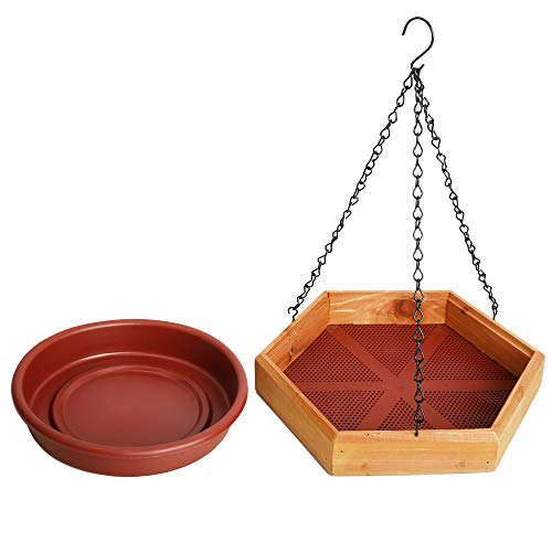 Solution4Patio Expert in Garden Creation #G-B123A00-US USA Cedar Hanging 2-in-1 Bird Bath/Feeder, Mesh Seed Platform, Removable Water Tray, Easy to Clean & Refill, Multi-Functional