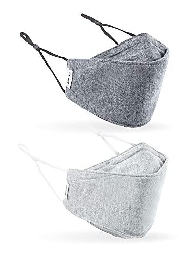 CoRevival Gesichtsmaske für Erwachsene, 2er-Pack, antimikrobiell, Tuch, verstellbar, atmungsaktiv, 2-lagig, Poly-Baumwolle, Revival Maske (grau)