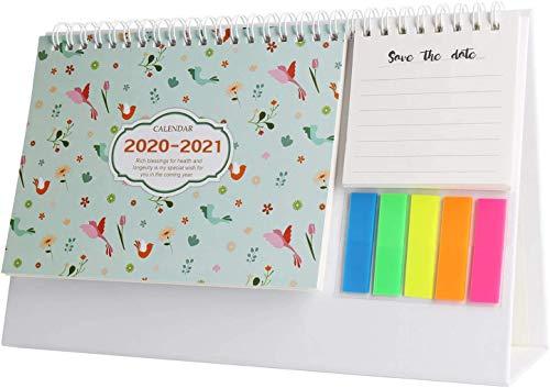 Calendario de escritorio, mini calendario mensual de escritorio, lista de notas, planificador diario septiembre 2020 - diciembre 2021.