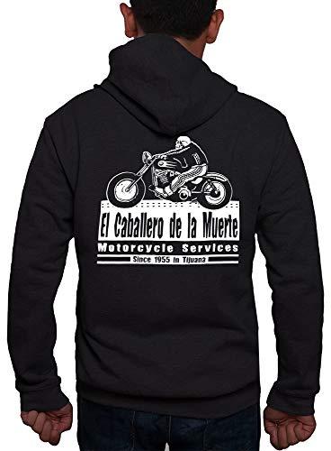 Rebel on Wheels Zip Hoodie Cabalero Muerte Schwarz S