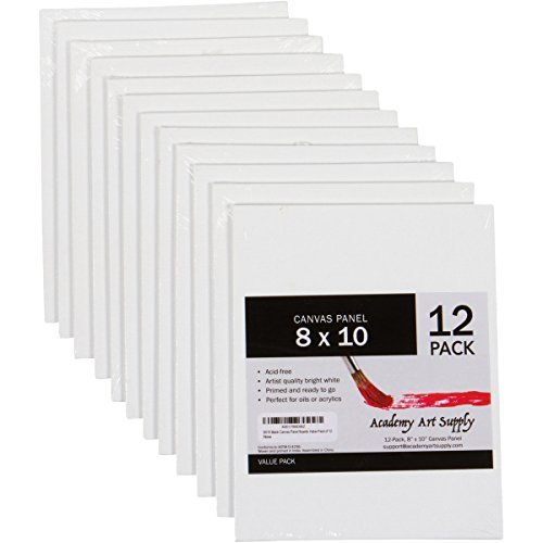 12 Pack 8X10 Canvas Panels - Academy Art Supply Value Pack...