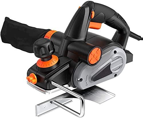 電気カンナ 16500RPM 両刃ブレード 替刃式 刃幅82mm 深さ2mm 軽量 高効率 集じん袋付き 安全保護 EPN01A …
