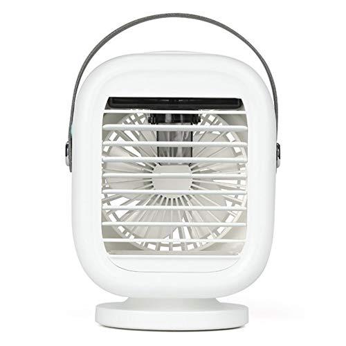 SETSCZY Acondicionador De Aire Portátil Ventilador De Aire De Sacude La Cabeza Mini Aire Acondicionado Multi-Humidificador con Función Purificador Eléctrico Ventilador De Escritorio,Blanco