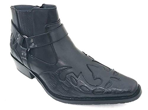G4U-Alberto Fellini W-11s Men's Cowboy Boots Western Ankle Harness Leather LiningSide Zipper Shoes (11 D(M) US, Black-1)