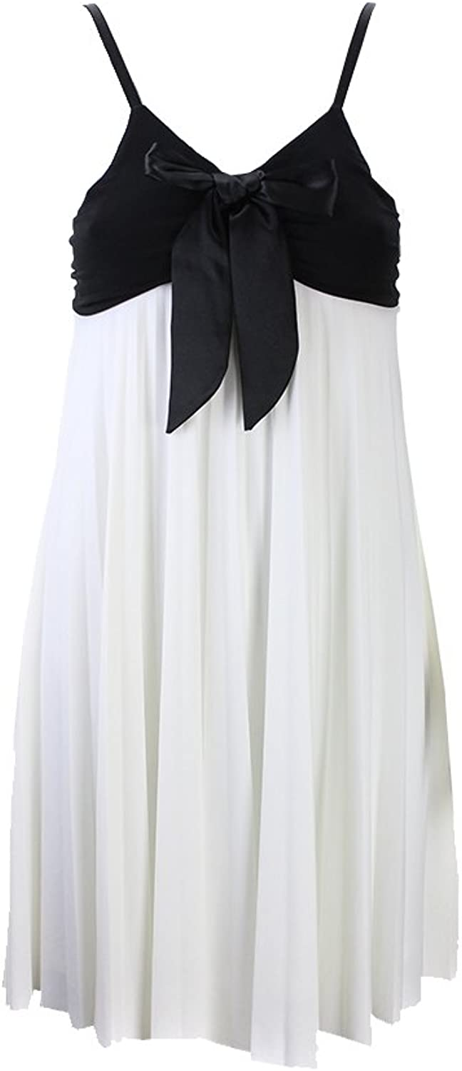 Ally B White colorblock Sleeveless Bow Dress Msrp