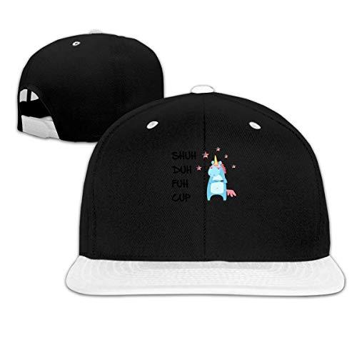 LLALUA Shuh Duh Fuh Cup Hip Hop Snapback Baseball Hat Adjustable Unisex White