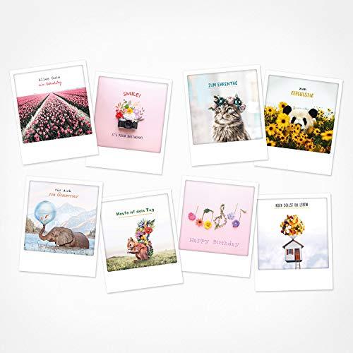PICKMOTION Set mit 8 Foto-Post-Karten Grüße & Wünsche, Instagram-Fotografen-Geburtstag-Karten, handgemachte Grußkarten, lustige Sprüche & Motive, Tiere, Blumen, BPK-0106
