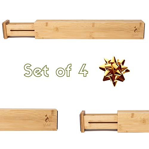 Vistal Drawer Dividers Bamboo Kitchen Organizers - Set of 4 - Spring Adjustable & Expandable | Best for Kitchen, Dresser, Desk, Office, Bedroom, Baby Drawer and Bathroom