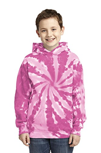Port & Company® Youth Tie-Dye Pullover Hooded Sweatshirt. PC146Y Pink L