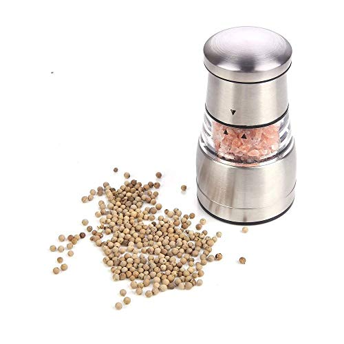 LKNJLL Moulin à poivre ou salière for chef professionnel - Best Spice Mill avec en acier inoxydable brossé, lames en céramique et Grossièreté réglable