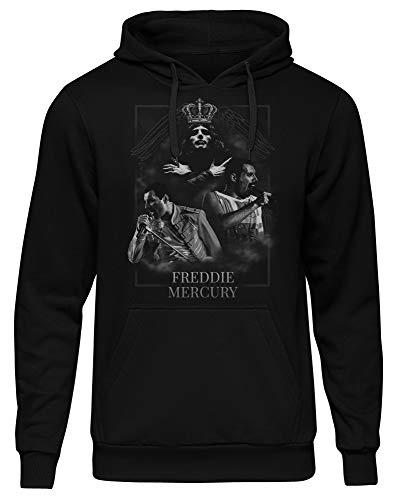 Freedie Mercury Männer und Herren Kapuzenpullover | Musik Rock Band (M, Schwarz Druck:Weiß)