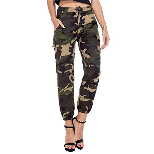 Luotuo Damen Hose Camouflage Jogginghose Cargo Hose Cargohose High Waist Straight Slim Sport Freizeithosen Streetwear