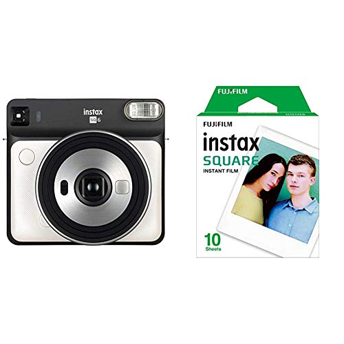 Fujifilm Instax SQ6   Cámara analógica instantánea formato cuadrado + Pack de 10 fotografías, color blanco