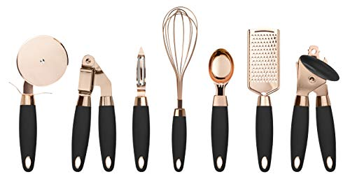 COOK With COLOR 7 Pc Kitchen Gadget Set Copper Coated Stainless Steel Utensils with Soft Touch Black Handles …