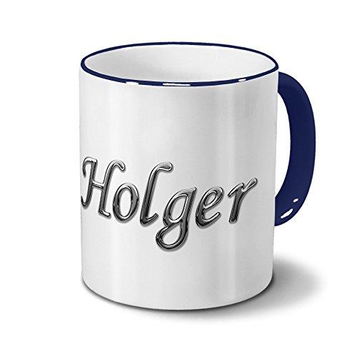 Tasse mit Namen Holger - Motiv Chrom-Schriftzug - Namenstasse, Kaffeebecher, Mug, Becher, Kaffeetasse - Farbe Blau