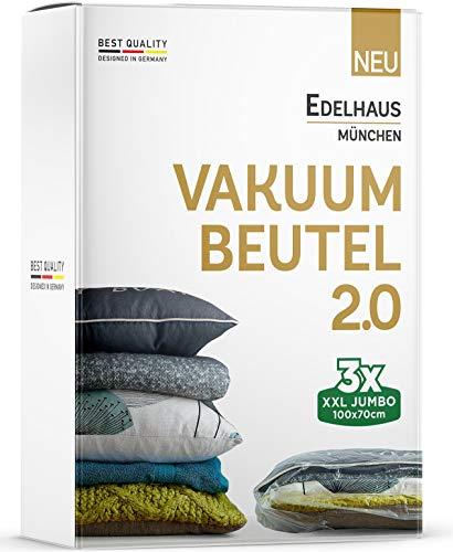 EINFÜHRUNGSANGEBOT - 3er Set Vakuumbeutel [Verbessert] Vakuumier Beutel Kleidung - Vakuumierbeutel für Matratzen, Reise, Bettdecken - Vakuumsack, Vakuum Packbeutel, Kleiderbeutel, Reisebeutel