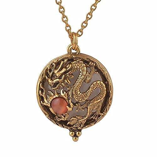 KBFDWEC Collar con Colgante de Vidrio con Lupa La joyería de Oro Antiguo se Abre y se Cierra
