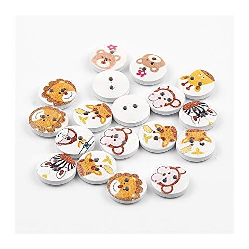 Dos agujeros Mixta Pintura animal botones de madera, se puede utilizar for coser la ropa del libro de recuerdos de la decoración de los niños, la costura DIY Accesorios Botones ( Color : B04274 )