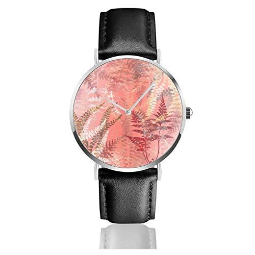 Moda moderna elegante coral rosa helecho hojas clásico casual reloj de cuarzo acero inoxidable correa de cuero negro relojes de pulsera