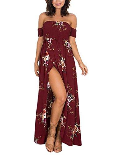 Yidarton Donna Vestiti Lunghi Estivi Senza Spalline Floreali Vestito Da Sera Abito Eleganti Da Cerimonia (XL, vino)