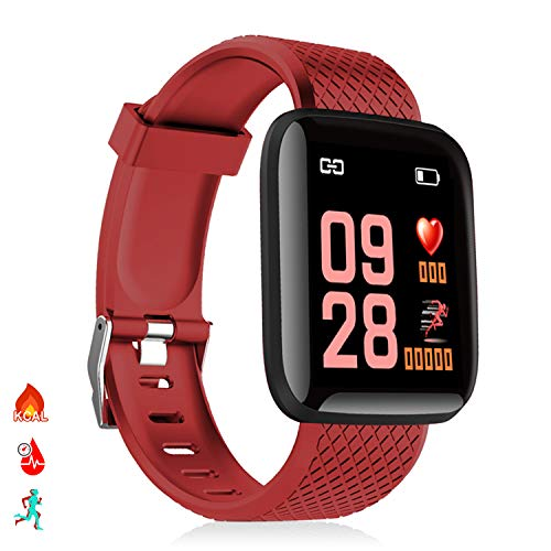 DAM Brazalete inteligente ID116 Bluetooth 4.0 pantalla color, monitor cardiaco, pulso y modo multideporte, Rojo, Mediano (DMAB0248C50)