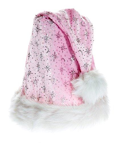 Kascha Weihnachtsmütze - Glitzernde Mütze aus Samt Stoff mit dickem Pelzrand Rosa Weiß - Nikolausmütze