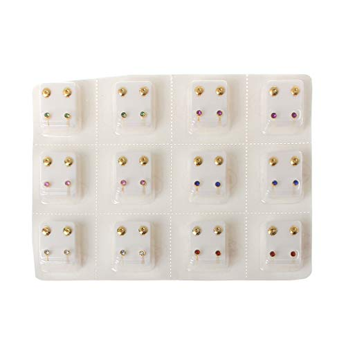 SimpleLife 12 Pairs Piercing Gun Tool Kit Earring Ear Stud Set Hypoallergenic Mini 3mm CZ Studs Jewelry
