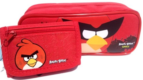 1 X Angry Birds Pencil Pouch and Wallet -Great Birthday Gift Set for Boys