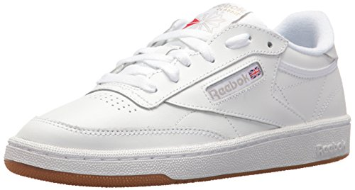 Reebok Women's Club C 85 Running Shoe, White/Light Grey/Gum, 8 M US
