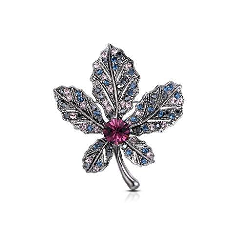 Brooch LF- Element Pin de cristal europeo y americano retro flores ramillete accesorios decoración para mujer (color: morado profundo, tamaño: 4,7 x 4,1 cm)