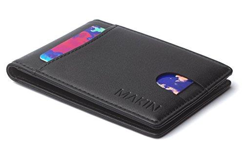 MAKIN Design Herren Portemonnaie mit Geldklammer und RFID Schutz - Premium Geldbörse mit Geldscheinklammer - Geldclip & Kartenetui - Kleiner schlanker Geldbeutel - Smart Wallet in Schwarz