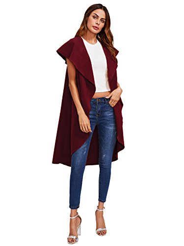 Romwe Women's Casual Oversized Cardigan Drape Collar Open Front Outwear Coat Jacket Vest Red S